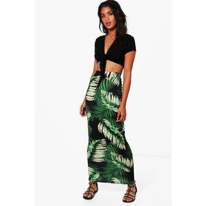 Boohoo Esme Palm Print Maxi Skirt 💚